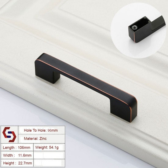 Zinc Kitchen Cabinet Handles Drawer Bar Handle Pull 96 128 192 320MM