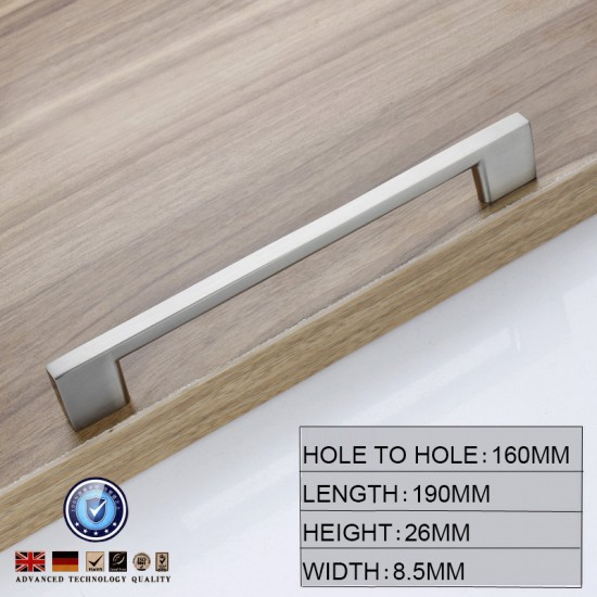Brushed Nickel Kitchen Door Cabinet Drawer Handle Pulls 96MM 128 160 192 224MM