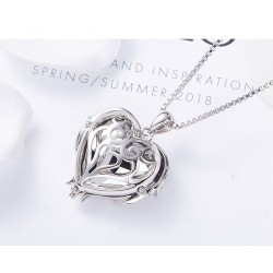 Women Angel Wing Swarovski Crystal Pendant Necklace Heart of Ocean