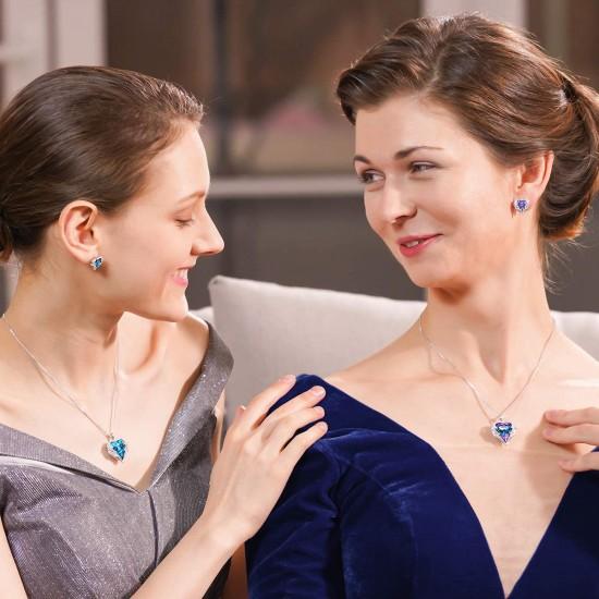 Women Angel Wing Swarovski Crystal Pendant Necklace Heart of Ocean