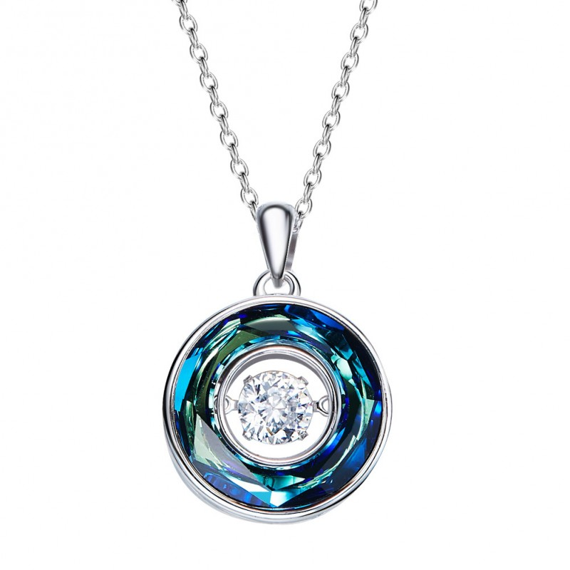 Women White Gold Plated Made With Swarovski Crystal Pendant Necklace