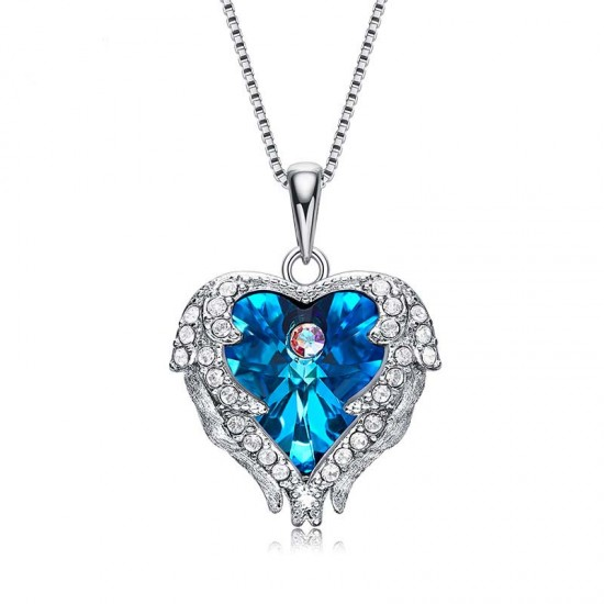 Women Angel Wing Made With Swarovski Crystal Pendant Necklace 925 silver