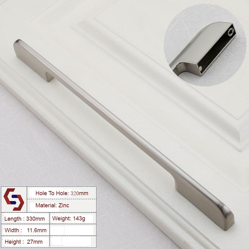 Zinc Kitchen Cabinet Handles Drawer Bar Handle Pull 128mm 224mm 192mm 320mm