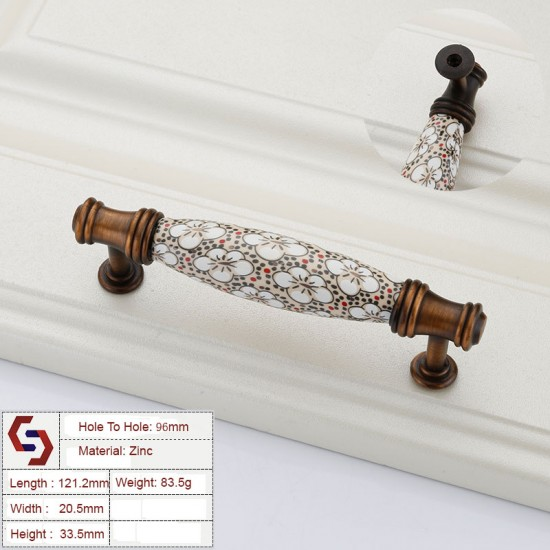 Ceramics Kitchen Cabinet Handles Bar Drawer Handle Pull 96 128