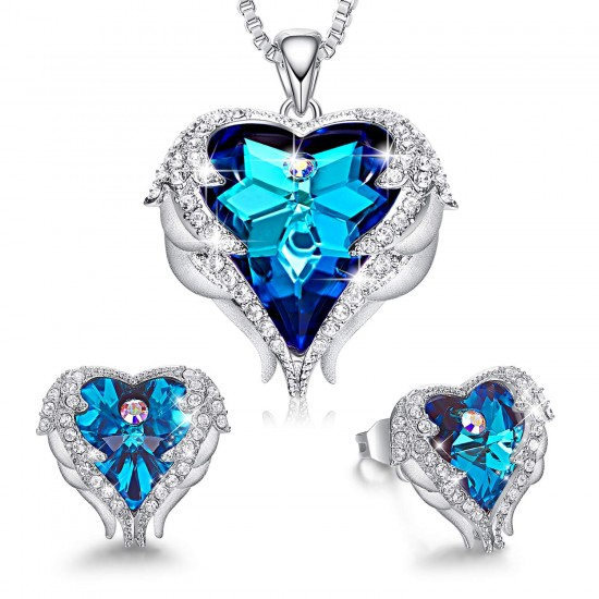 Women Angel Wing Made with Swarovski Crystal Pendant Necklace Heart of Ocean