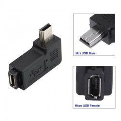 90 degree angled MINI USB male to MICRO USB female Data connector Adapter