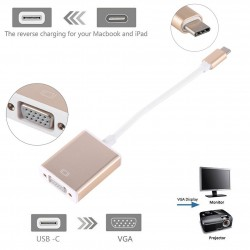 USB-C Type C USB 3.1 Male to VGA Female Monitor Projector Adapter Cable Macbook
