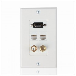 HDMI Ethernet Network RJ45 RCA Coaxial F Connector Multi Combo Wall Plate