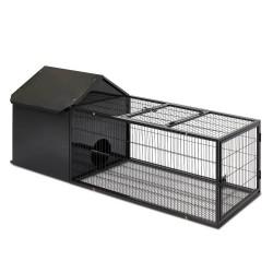 i.Pet Large Metal Rabbit Hutch - Black