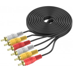 1.5M 3 RCA 3RCA L + R + V Composite AV Audio Video Cable Gold Male Plated M/M