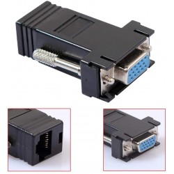 2x Femal VGA SVGA Extender Adapter To CAT5/CAT6/RJ45 Ethernet Cable