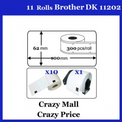 10+1 DK11202 DK 11202 Thermal Labels For Brother QL500 QL 560 570 580N 1060N ETC