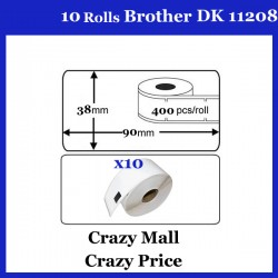 10 Rolls DK11208 DK 11208 For Brother Large Address Thermal LABELS 38x90mm