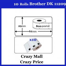 10x DK11209 DK 11209 Thermal Labels For Brother QL500 QL 560 570 580N 1060N ETC