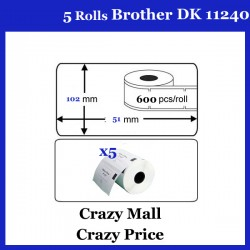 5x DK11240 DK 11240 Thermal Labels For Brother QL500 QL 560 570 580N 1060N ETC