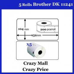 5x DK11241 DK 11241 Thermal Labels For Brother QL500 QL 560 570 580N 1060N ETC