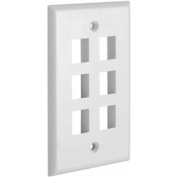 6 Port QuickPort outlet Wall Plate face plate, six Gang White