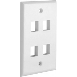 4 Port QuickPort outlet Wall Plate face plate, four Gang White