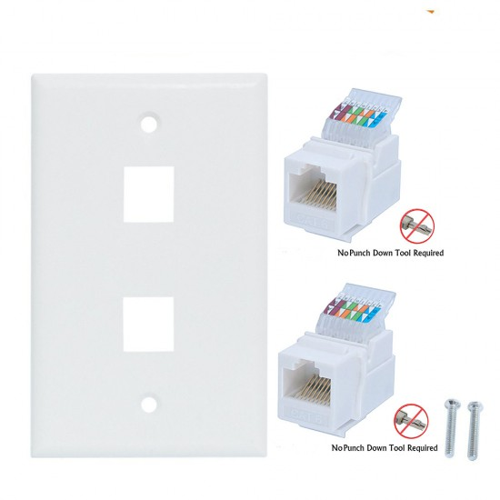 2 Port Cat6  Ethernet Wall Plate Ethernet Cable Wall Plate Adapter