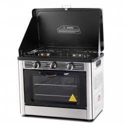 3 Burner Portable Oven - Silver Black