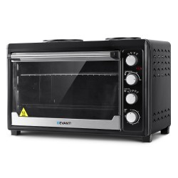 Electric Convection Oven Benchtop Rotisserie Grill 60L Hotplate Black
