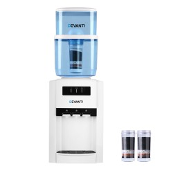22L Bench Top Water Cooler Dispenser Purifier Hot Cold Three Tap with 2 Replacement Filters