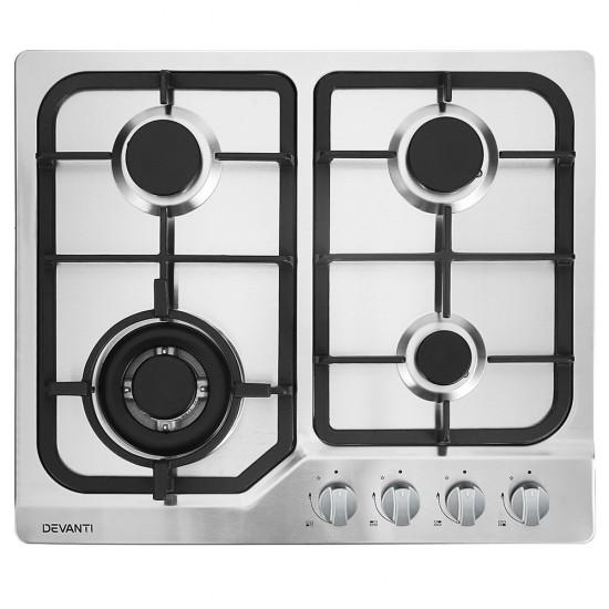 Gas Cooktop 60cm Gas Stove Cooker 4 Burner Cook Top Konbs NG LPG Steel