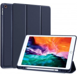 IPad 10.2 2019 7th Pencil Holder Slim Smart TPU Soft Case Navy Blue
