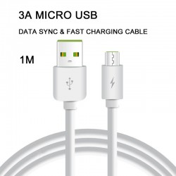 1M 3A Micro USB Cable - USB 2.0 A Male to Micro-USB B Male Power data Fast Cable