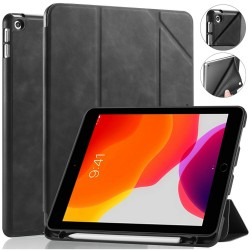 IPad 10.2 2019 7th Pencil Holder Slim Smart TPU PU leather Soft Edge Case Black