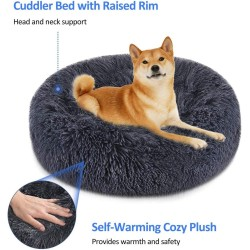 Soft Dog Bed Round Washable Plush Pet Kennel Cat Bed Mat Sofa Medium 60cm