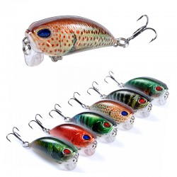 6x Popper Poppers 5.1cm Fishing Lure Lures Surface Tackle Fresh Saltwater