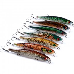 6x Popper Poppers 9.3cm Fishing Lure Lures Surface Tackle Fresh Saltwater
