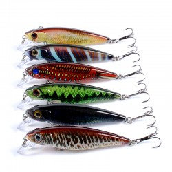 6x Popper Poppers 8.6cm Fishing Lure Lures Surface Tackle Fresh Saltwater