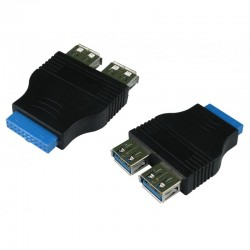 20 Pin Motherboard Port Header USB 3.0 Female to 2 x USB 3.0 female Adapter