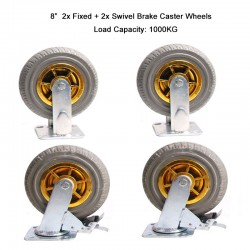 "4x 8"" Heavy Duty Industrial Swivel Brake Caster Tyre Tyres Wheel Wheels Castor 1000KG Trolley"