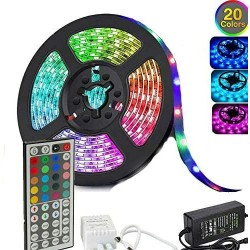 5050 RGB LED Strip Lights Waterproof SMD 300 IP65 5m 12V 44key IR Controller