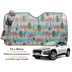 Car Sunshade Vintage Flamingo 140 X 72cm