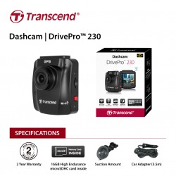 """Transcend 16G DrivePro 230, 2.4"""" LCD,with Suction Mount"""