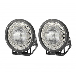 Pair 9 inch Lumileds LED Driving Lights Flood Beam 4x4 Spotlights BLACK With DRL