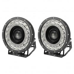 Pair 9 inch CREE LED Driving Lights Spot Round Black Spotlights 4x4 SUV OffRoad