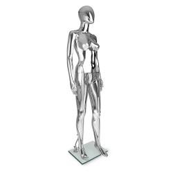 175cm Tall Full Body Chrome Female Mannequin - Silver