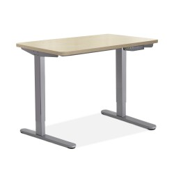 Artiss Electric Motorised Height Adjutable Standing Desk Grey Frame - Natural Oak 100cmx60cm