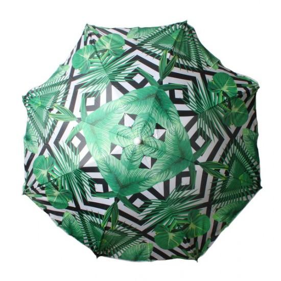 Beach Umbrella 180cm Geo Palm Design
