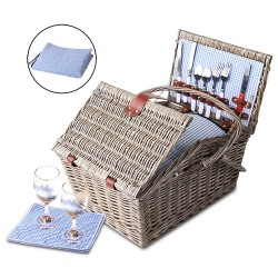 Alfresco 4 Person Picnic Basket - Blue and White