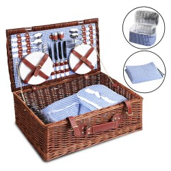 Alfresco Willow 4 Person Picnic Basket - Blue and White