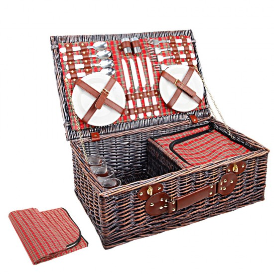 Alfresco Willow 4 Person Picnic Basket - Red and Green