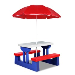 Keezi Kids Picnic Table Bench Set Children Umbrella Outdoor Chair