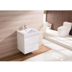 600mm Wall Hung Bathroom Vanity Unit With Polyurethane Finish, Artificial Stone Basin - Della Francesca