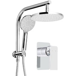 WELS Round 9 inch Rain Shower Head and Mixer Set Handheld Spray Bracket Rail Chrome